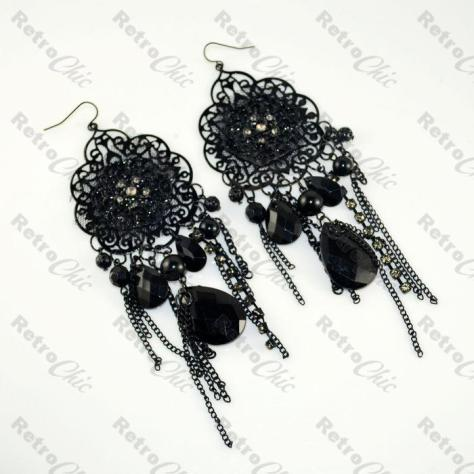 Black Chandelier Earrings
