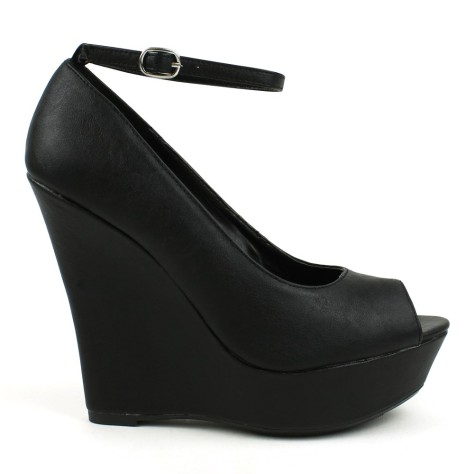 Black Leather peep toe wedges