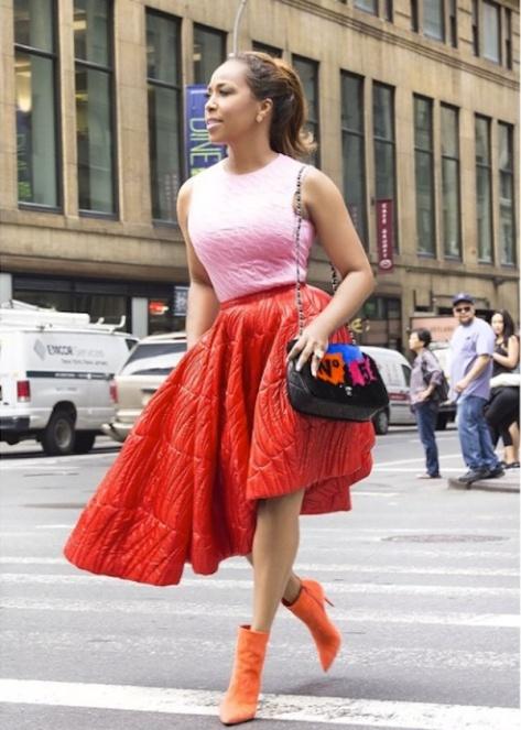 marjorie-harvey-christian-louboutin-orange-ankle-boots-new-york
