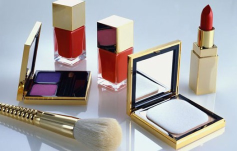 Cosmetics in Elegant Gold Cases